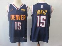 Mens Nba Nike Denver Nuggets #15 Nikola Jokic Dark Blue With Red Basketball Jersey