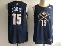 Mens Nba Nike Denver Nuggets #15 Nikola Jokic Dark Blue With Yellow Basketball Jersey