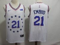 Mens 2018-19 Nba Philadelphia 76ers #21 Joel Embiid White Earned Edition Nike Swingman Jersey