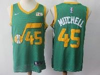 Mens 2018-19 Nba Utah Jazz #45 Donovan Mitchell Green Earned Edition Nike Swingman Jersey