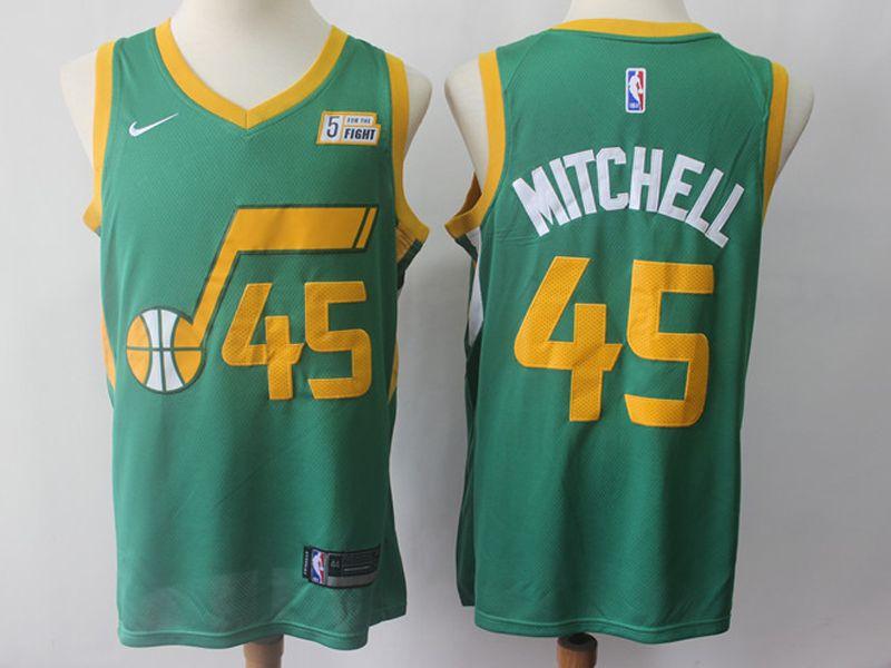 Mens 2018-19 Nba Utah Jazz #45 Donovan Mitchell Green Earned Edition Nike Swingman Jersey