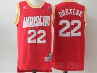 Mens Nba Houston Rockets #22 Drexler Red Adidas Hardwood Classics Throwback Jersesy
