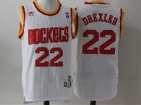Mens Nba Houston Rockets #22 Drexler White Adidas Hardwood Classics Throwback Jersesy