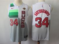 Mens 2018-19 Nba Milwaukee Bucks #34 Giannis Antetokounmpo White & Gray Splitting Earned Edition Swingman Jersey