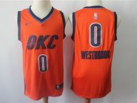 Mens Nba Oklahoma City Thunder #0 Russell Westbrook Orange Nike Earned Edition Swingman Jersey