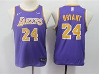 Youth 2018-19 Nba Los Angeles Lakers #24 Kobe Bryant Purple Nike Swingman Jersey