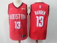 Mens 2018-19 Nba Houston Rockets #13 James Harden Red Nike Earned Edition Swingman Jersey
