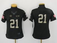 Women Youth Nfl Dallas Cowboys #21 Ezekiel Elliott Black Camo Number Salute To Service Limited Jersey