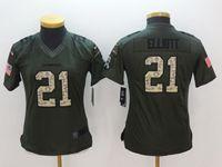Women Youth Nfl Dallas Cowboys #21 Ezekiel Elliott Green Salute To Service Limited Jersey