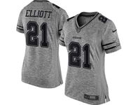 Women Dallas Cowboys #21 Ezekiel Elliott Heather Gray Limited Jersey