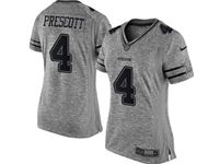 Women Dallas Cowboys #4 Dak Prescott Heather Gray Limited Jersey
