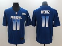 Mens Philadelphia Eagles #11 Carson Wentz Blue 2019 Pro Bowl Nfc Nike Royal Game Jersey