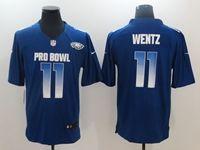 Mens Philadelphia Eagles #11 Carson Wentz Blue 2019 Pro Bowl Nfc Nike Royal Game Jersey