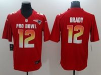 Mens New England Patriots #12 Tom Brady Red 2019 Pro Bowl Afc Nike Royal Game Jersey