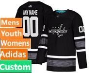 Mens Women Youth Adidas Nhl Washington Capitals Custom Made Black 2019 All Star Jersey