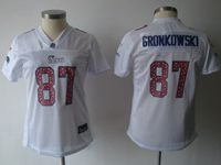 Women New England Patriots #87 Rob Gronkowski White Elite Jersey Spots On The Number