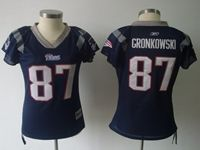 Women New England Patriots #87 Rob Gronkowski Blue Jersey Diamond On The Neck