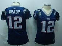 Women New England Patriots #12 Tom Brady Blue Jersey Diamond On The Neck