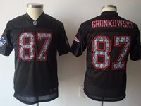 Mens Nfl New England Patriots #87 Rob Gronkowski Black Elite Player Jersey Gray Number