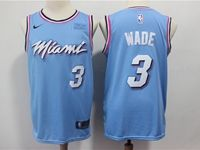 Mens Nba Miami Heat #3 Dwyane Wade Light Blue Residual Edition Nike Jersey