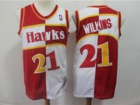 Mens Nba Atlanta Hawks #21 Dominique Wilkins Red And White Mitchell & Ness Jersey