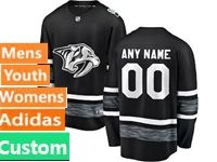 Mens Women Youth Adidas Nhl Nashville Predators Black Custom Made 2019 All Star Jersey