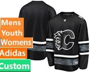 Mens Women Youth Adidas Nhl Calgary Flames Black Custom Made 2019 All Star Jersey