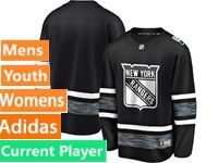 Mens Women Youth Adidas New York Rangers Black Current Player 2019 All Star Jersey