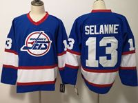 Mens Nhl Winnipeg Jets #13 Selanne Blue Throwbacks Jersey