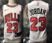 Kids Nba Nike Chicago Bulls #23 Michael Jordan White Jersey