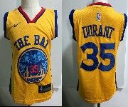 Kids Nba Nike Golden State Warriors #35 Kevin Durant Gold City Edition Swingman Jersey