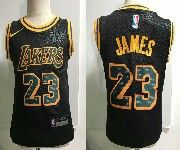Kids Nba Nike Los Angeles Lakers #23 Lebron James Black Nike City Authentic Jersey