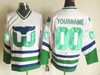 Mens Nhl Hartford Whalers Custom Made White New Ccm Throwbacks Jersey