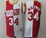 Mens Nba Houston Rockets #34 Olajuwon Red And White Hardwood Mitchell≠ss Throwback Jersesy