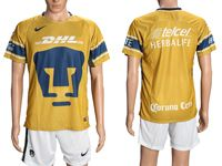 Mens 18-19 Soccer Club Universidad Nacional (custom Made) Gold Home Short Sleeve Suit Jersey