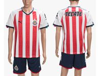 Mens 18-19 Soccer Club Chivas Guadalajara Cd (custom Made) Red&white Home Short Sleeve Suit Jersey