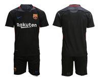 Mens 18-19 Soccer Barcelona Club (custom Made) Black Goalkeeper Short Sleeve Suit Jersey