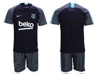 Mens 18-19 Soccer Barcelona Club (custom Made)  Black Training Short Sleeve Suit Jersey