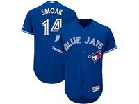 Mens Majestic Toronto Blue Jays #14 Justin Smoak Blue 2019 Spring Training Flex Base Jersey