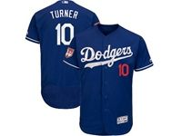 Mens Majestic Los Angeles Dodgers #10 Justin Turner Blue 2019 Spring Training Flex Base Jersey