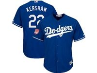 Mens Women Majestic Los Angeles Dodgers #22 Clayton Kershaw Blue 2019 Spring Training Cool Base Jersey