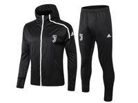 Mens 18-19 Soccer Juventus Club Black Long Zipper Coat With Hat Pants Training Suit Set