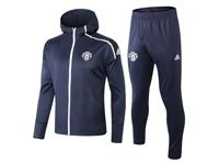 Mens 18-19 Soccer Manchester United Club Dark Blue Long Zipper Coat With Hat Pants Training Suit Set