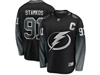 Mens  Nhl Tampa Bay Lightning #91 Steven Stamkos Black Alternate Breakaway Player Jersey