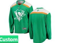 Mens Nhl Pittsburgh Penguins Green 2019 St. Patrick's Day Replica Custom Made Jersey