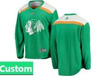 Mens Nhl Chicago Blackhawks Green 2019 St. Patrick's Day Replica Custom Made Jersey