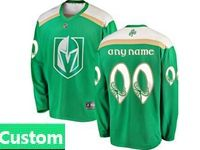 Mens Nhl Vegas Golden Knights Green 2019 St. Patrick's Day Replica Custom Made Jersey