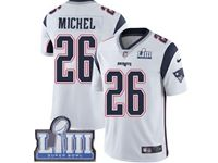 Mens New England Patriots #26 Sony Michel White 2019 Super Bowl Liii Bound Vapor Untouchable Limited Jersey