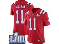 Mens New England Patriots #11 Julian Edelman Red 2019 Super Bowl Liii Bound Vapor Untouchable Limited Jersey