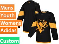 Mens Women Youth Adidas Pittsburgh Penguins Custom Made Black 2019 Stadium Series Jersey